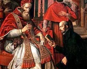St Ignace de Loyola remettant son livre des Exercices au pape Paul III